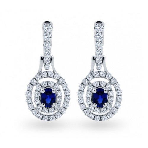 Double Halo Blue Sapphire And Diamond  Earrings In 14k White Gold (0.75 Ct)