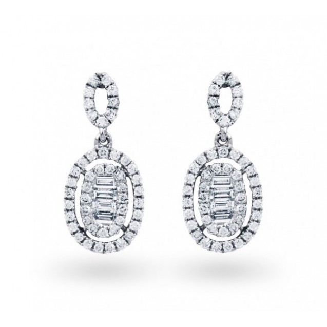 Vintage Baguette Diamond Drop Earrings (0.56 ct)