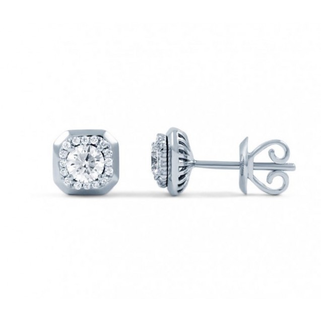 Diamond Stud Earrings In 14k White Gold (0.5 Ct)