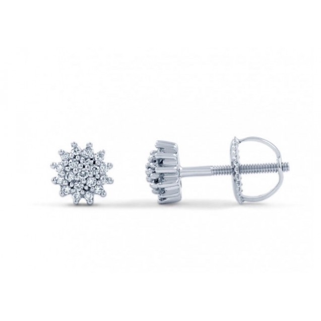 Round Diamond  Earring made in14k White Gold (0.5ct)