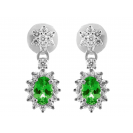 Emerald And Diamond Earring Set in 18k White Gold ( 1.1ct Em)