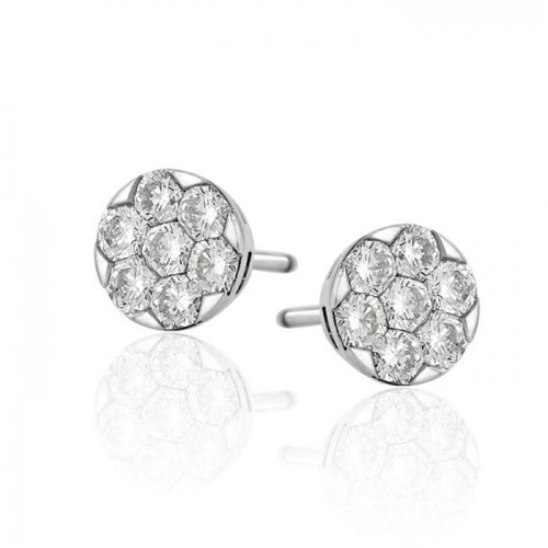 Diamond Cluster Stud Earring Set in 14k White Gold ( 0.79ct)