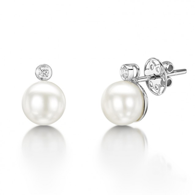 Diamond & Pearl Earring Set in 14k White Gold ( 0.17ct)​