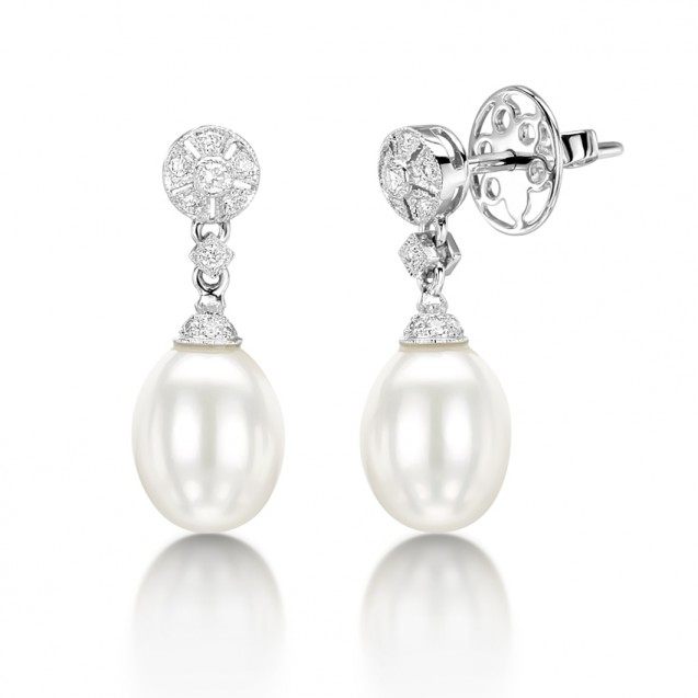 Diamond & Pearl Drop Earring Set in 14k White Gold ( 0.17ct)