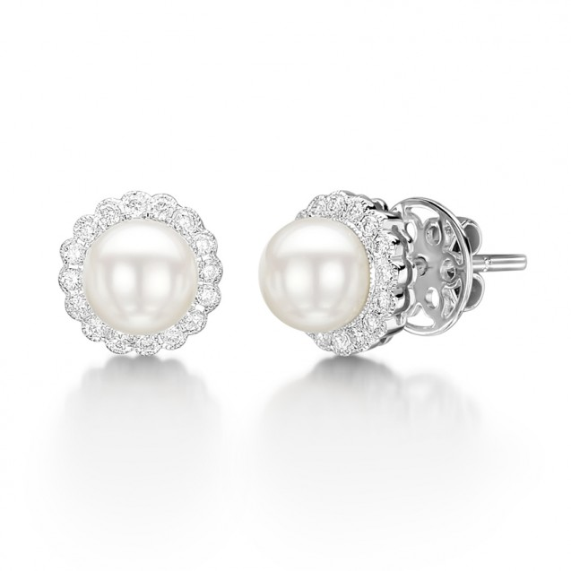 Diamond & Pearl Drop Earring Set in 14k White Gold ( 0.2ct)