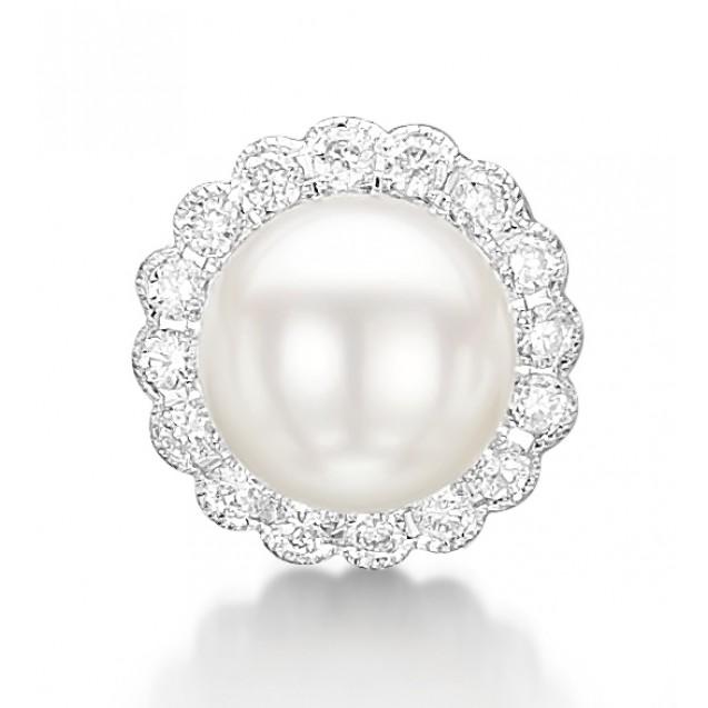 Diamond & Pearl Drop Earring Set in 14k White Gold ( 0.2ct)