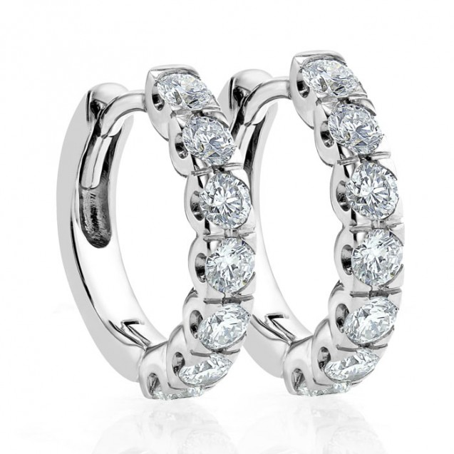 Diamond Small Hoop Earring Set in 14k White Gold  (0.76 ct)