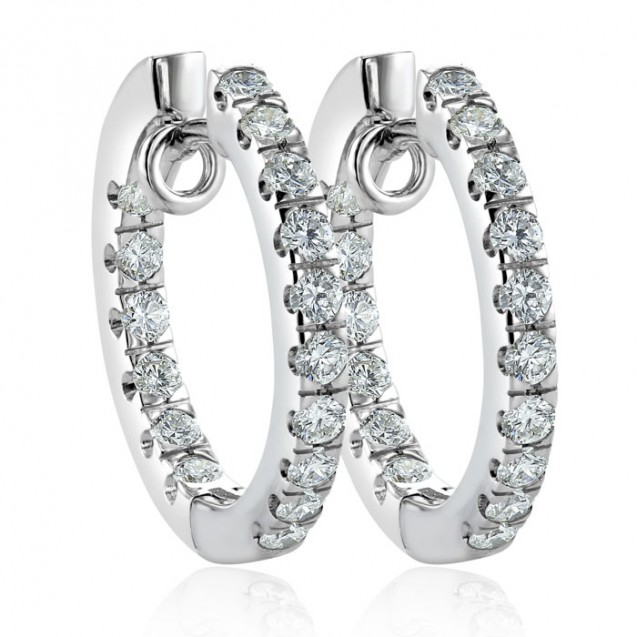 Diamond Hoop Earring Set in 14K White Gold (.95ct)