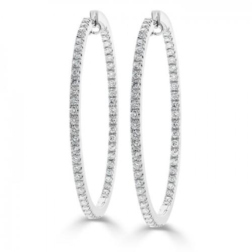 Micro-Pavé Diamond Hoop Earring Set In 14K White Gold (1.90ct)