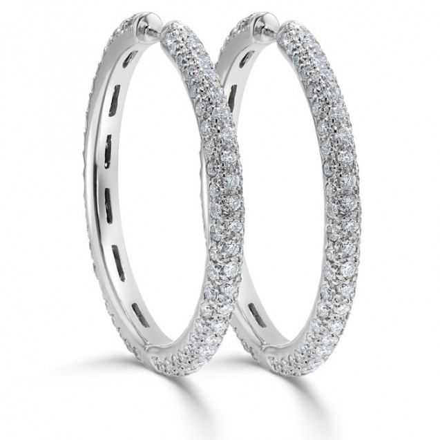 Three Row-Pavé Diamond Hoop Earrings Set in 14ct White Gold (4.90 ct)
