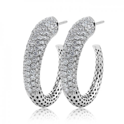 Medium Trendy Diamond Hoop Earrings Set in 14ct White Gold  (3.92 ct)
