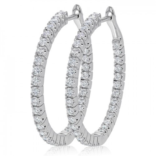 Inside-Out Hinged Diamond Hoop Earring Set in 14k White Gold ( 1.07ct)