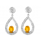 Citrine And Diamond  Earrings In 18k White Gold (1.66Ct CT)