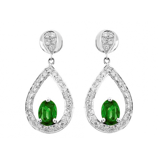 Emerald And Diamond  Earrings In 18k White Gold (1.66Ct Em)
