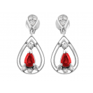Burmese Ruby And Diamond  Earrings In 18k White Gold (0.91Ct Ruby)
