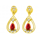 Burmese Ruby And Diamond  Earrings In 18k Yellow Gold (0.91Ct Ruby)