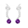 Amethyst And Diamond  Earrings In 18k White Gold (1.87Ct Amethyst)