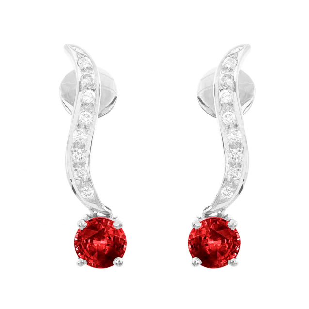 Burmese Ruby And Diamond  Earrings In 18k White Gold (1.87Ct Ruby)