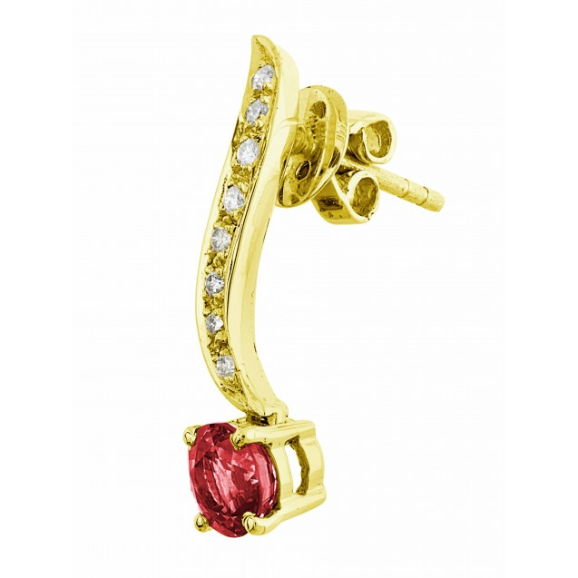 Burmese Ruby And Diamond  Earrings In 18k Yellow Gold (1.87Ct Ruby)