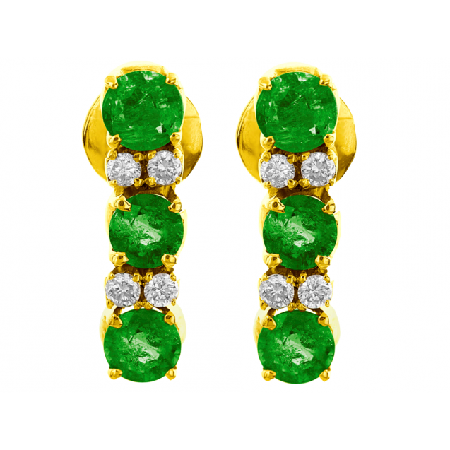 Emerald And Diamond  Earrings In 18k Yellow gold (1.2Ct Em)