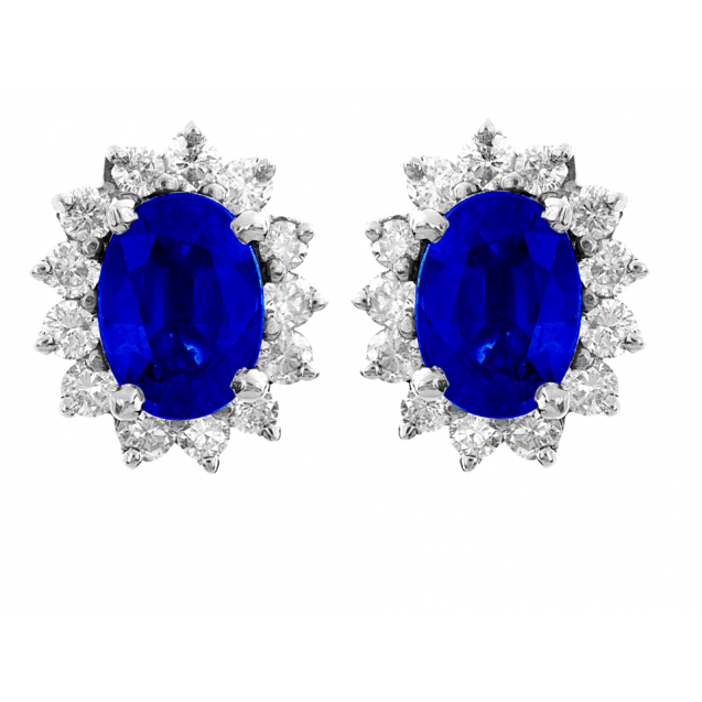 Blue Sapphire And Diamond  Earrings In 18k White Gold (2.2Ct Bs)