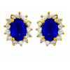 Blue Sapphire And Diamond  Earrings In 18k Yellow Gold (2.2 Ct Bs)