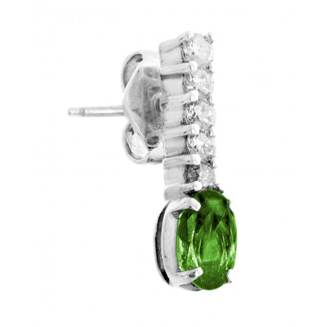 Emerald And Diamond  Earrings In 14k White gold (0.79Ct Em)