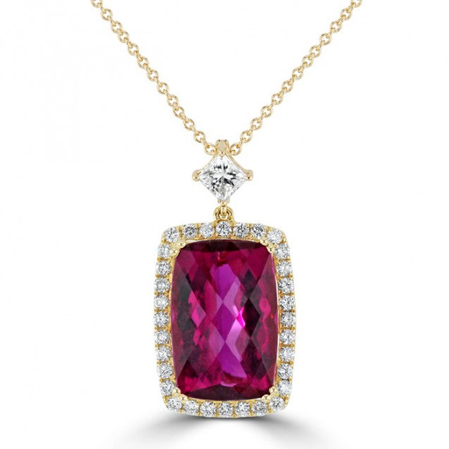 Rubellite And Diamond Pendant made in 14k Yellow Gold (4cts Rubellite)