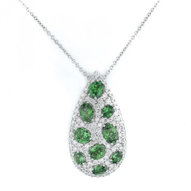 Green Garnet And Diamond Pendant made in 14k White Gold (2.25cts Green Garnet)