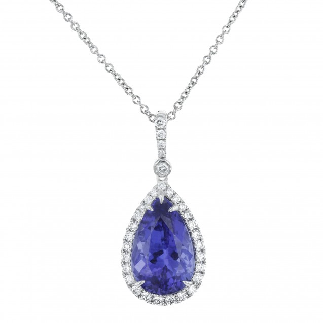 Tanzanite And Diamond Pendant made in 14k White Gold (2cts TZ)