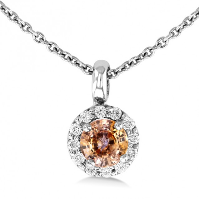 Orange Sapphire And Diamond Pendant made in 14k White Gold (ct OS)