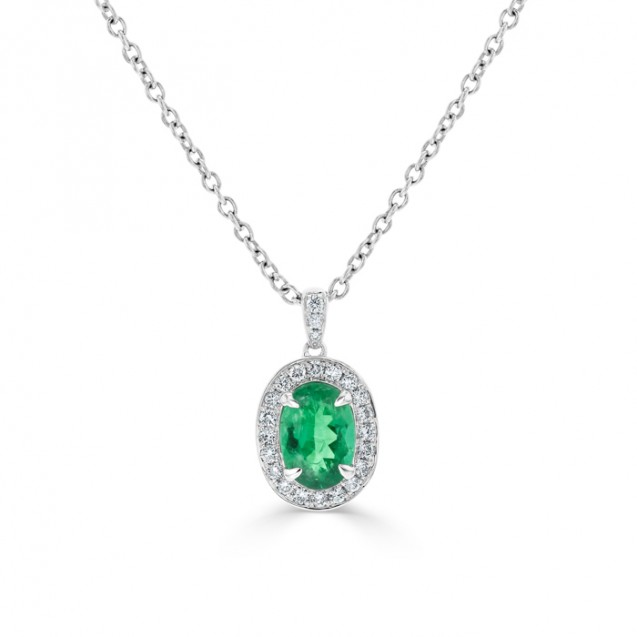 Emerald And Diamond Pendant made in 14k Yellow Gold (1.2cts  EM)