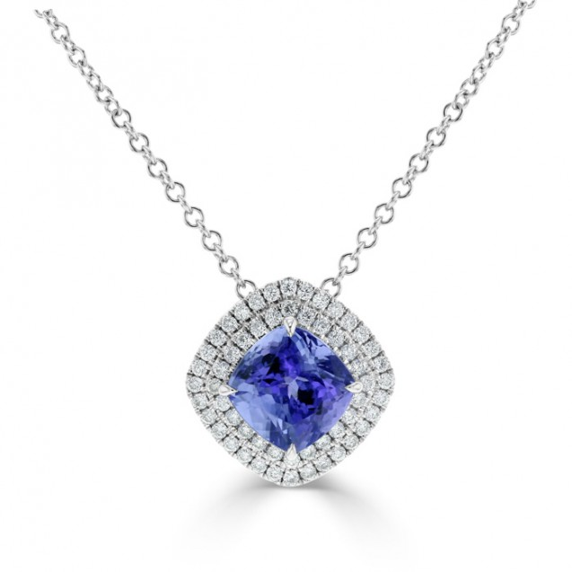 Tanzanite And Diamond Pendant made in 14k White Gold (2.5cts TZ)