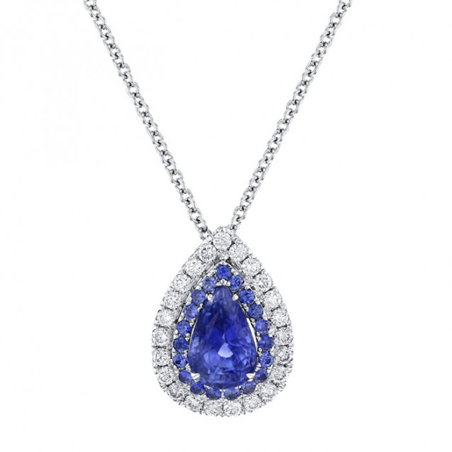 Tanzanite And Diamond Pendant made in 14k White Gold (2ct TZ)