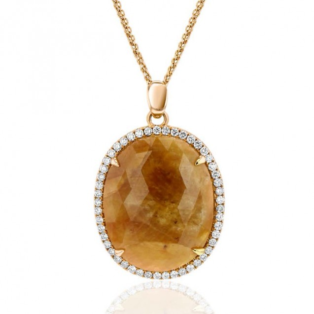 Yellow Sapphire And Diamond Pendant made in 14k Yellow Gold (3cst YS)