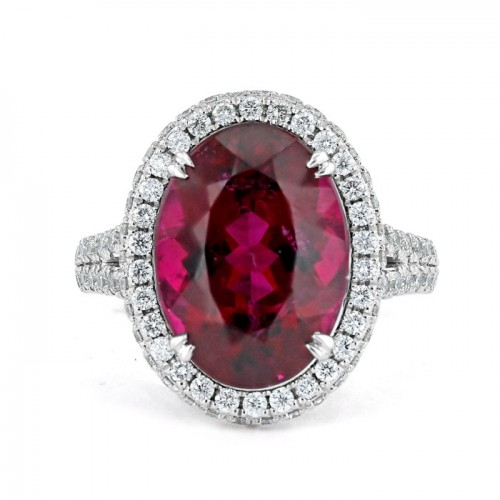 Rubellite And Diamond  Ring Made in 14k White Gold (4ct  Rubellite )
