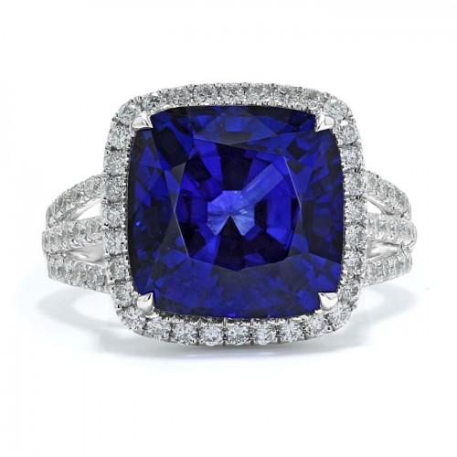 Blue Sapphire And Diamond  Ring Made in 14k White Gold (4.5ct BS)
