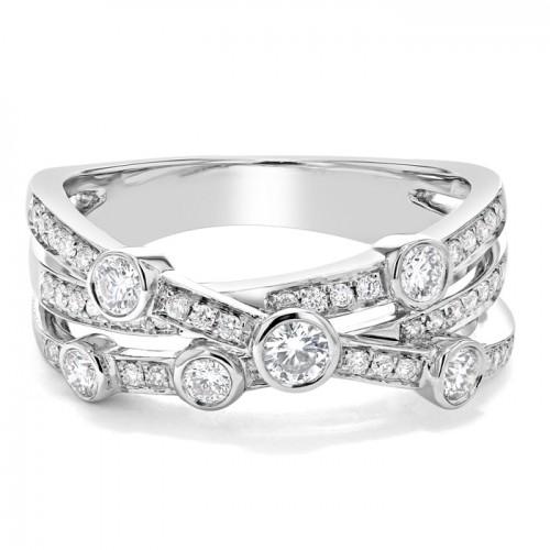 Diamond Ring Set in 14k White Gold (0.59 ct)