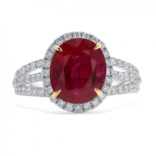 Burmese Ruby And  Diamond Ring set in 14ct White Gold ( 0.9cts Ry)