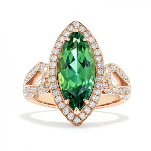 Green Tourmaline And  Diamond Ring set in 14ct White Gold ( 2.5 cts Green Tourmaline)