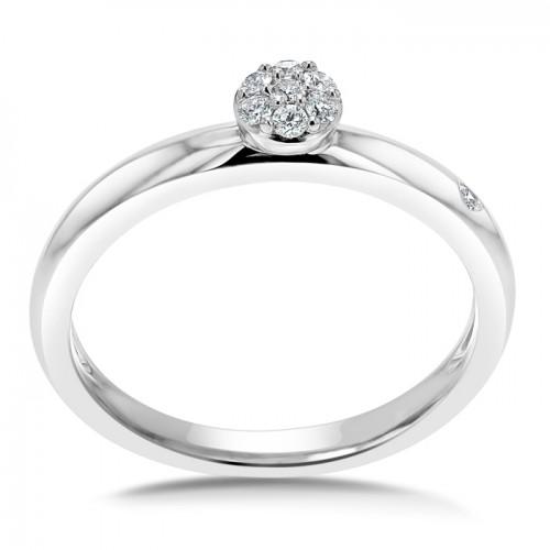 Cluster Diamond Ring Set in 14k White Gold (0.11ct)