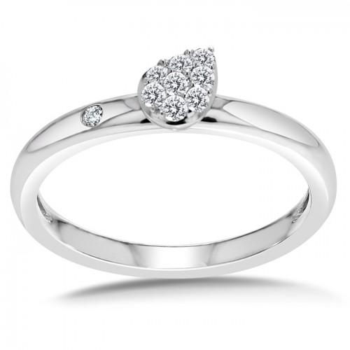 Diamond Ring Set in 14k White Gold (0.14ct)