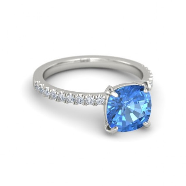 Blue Topaz And Diamond Ring Set in 14k White Gold (2.07ct Bt)
