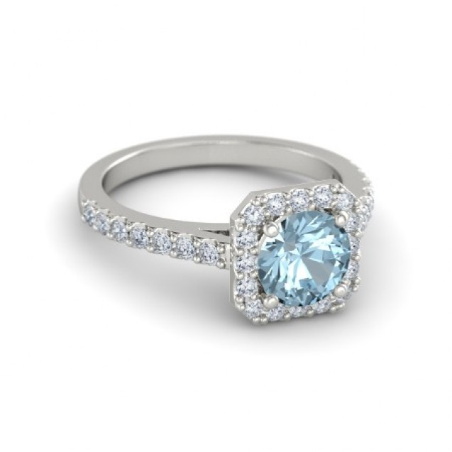 Round Cut Aquamarine with a Cluster of Diamond in 14K White Gold (1.14ct Aquamarine)
