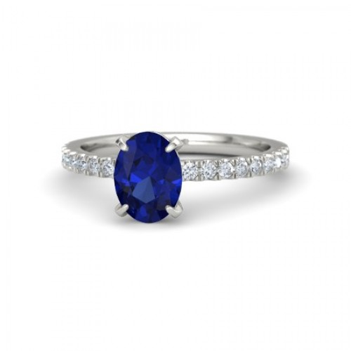 Blue Sapphire And Diamond Ring made in14k White Gold (1.43ct BS)