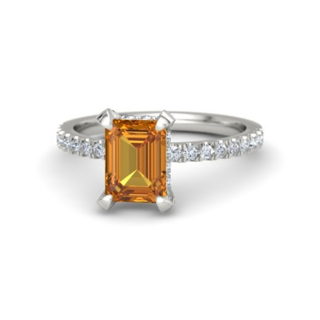 Citrine And Diamond Ring made in 14k White Gold (1.24ct Citrine)
