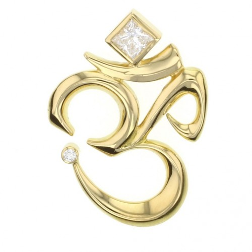 Diamond Om Pendant made in 14k Yellow Gold (0.43ct)