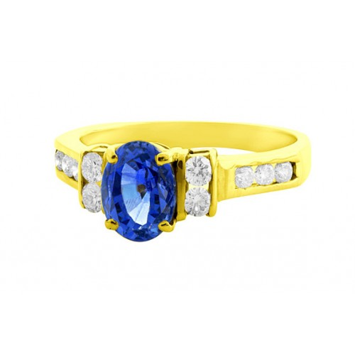 Blue Sapphire And Diamond Ring set in 14k Yellow Gold ( 1.4ct Bs)