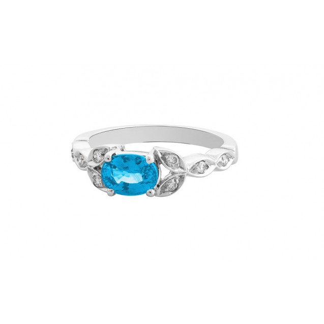 OVAL SHAPE BLUE TOPAZ AND DIAMOND RING (1.36 ct Bt)