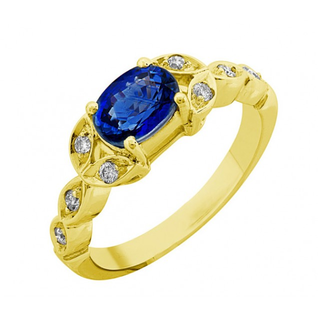OVAL SHAPE BLUE SAPPHIRE AND DIAMOND RING(1.36ct Bs)